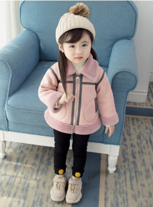 Girl's Pink Scoop Neck Cotton-Padded Jacket