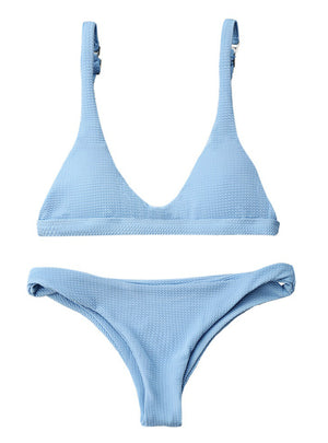 Swimwear Solid Color Beachwear Brazilian Bikini Set