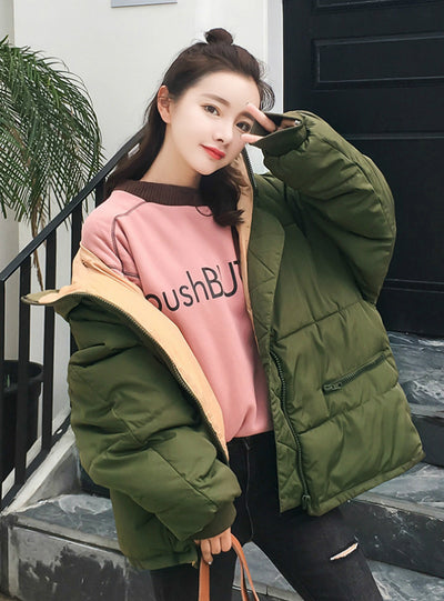 Full Zipper Solid Fashion Cotton Cotton-padded Jacket
