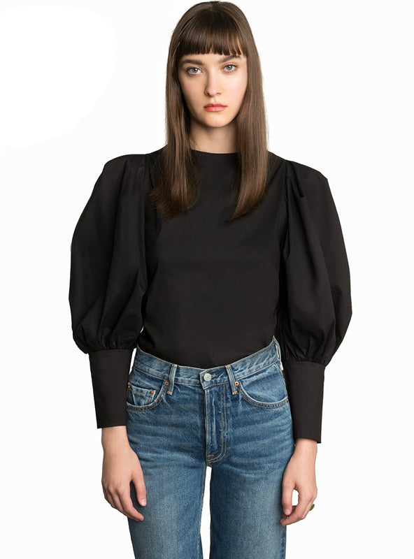 Lantern Sleeve Female Blouses O-Neck Elegant Tops Lady