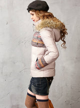 White Duck Down Jacket With Hood Female Fur
