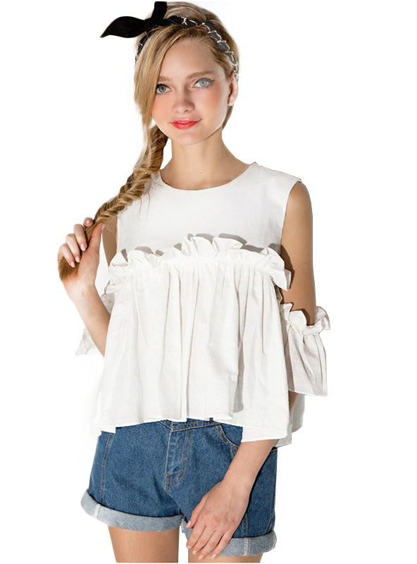 Butterfly Sleeve Cold Shoulder Female Shirts