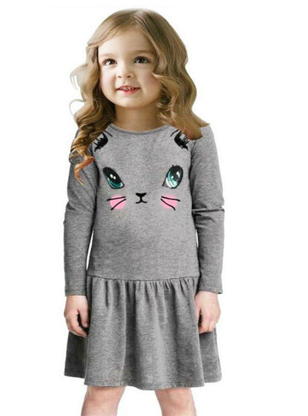 Cat Print Children Long Sleeve Cartoon Baby Girl