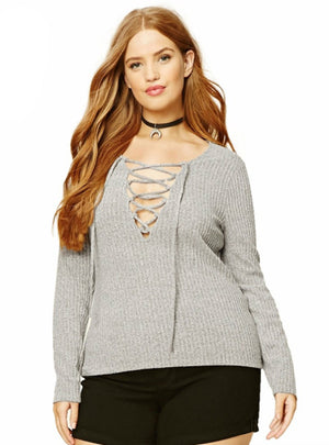 Tied O-Neck Sweater Slim Warm Knitted Pull