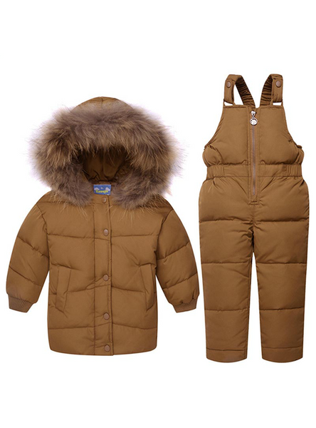 Boys Ski Suit Girl Down Jacket Coat Bib Pants 2pcs