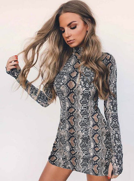 Sexy Serpentine High Neck Long Sleeve Dress Woman