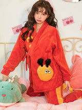 Cartoon Cute Kimono Flannel Velvet Padded Warm Suit