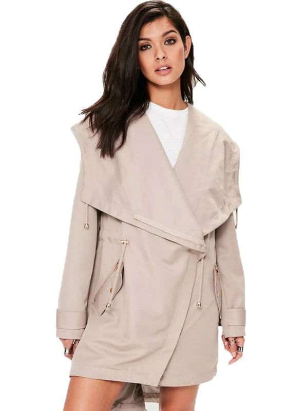 Light Pink Women Casual Trench Coats Turn-down