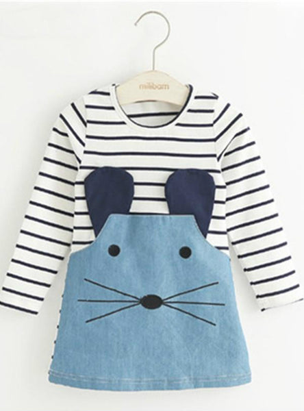 Long Sleeve Cute Mouse Children Clothing Kids Girls Dress