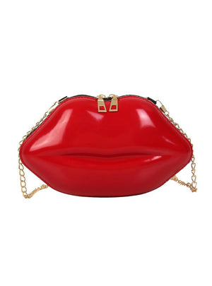 Lips Shape PVC Handbags Solid Zipper Shoulder Bag