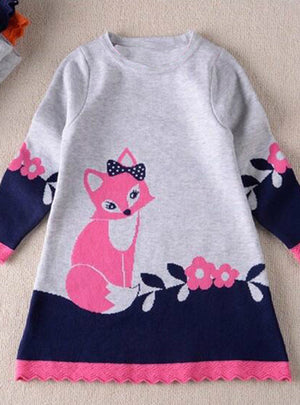 A-line fox Sweater Dresses Knitted Long Sleeve O Neck