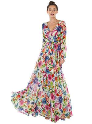 Floral Maxi Dresses Boho Beach V Neck Long Sleeve