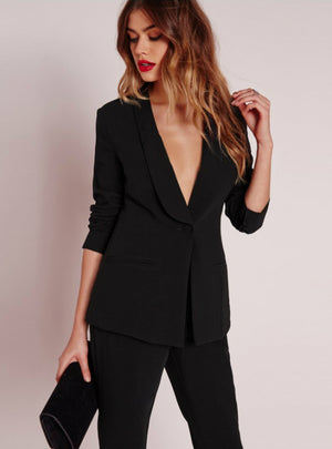 Black Office Blazer Suit Jacket Female Casual Slim
