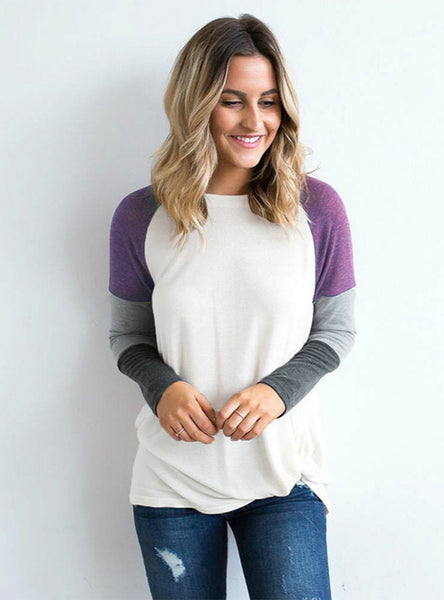 Round Neck Spliced Long Sleeve Contrast T shirt