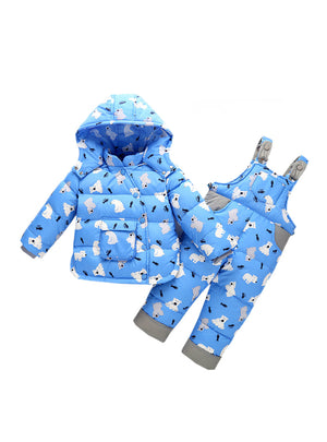 Sets Winter Warm Cartoon Bear Hooded Newborn Infant