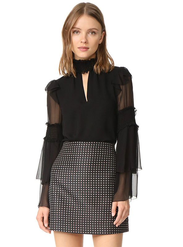 Black Mesh Semi-Sheer Patchwork Casual Blouse
