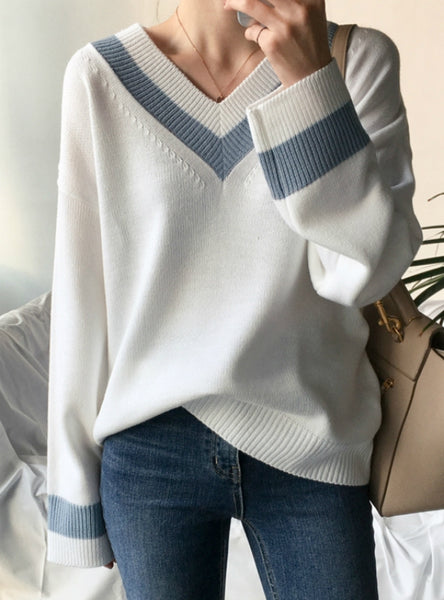 Women's Sweaters Black White Pullover Korean Style