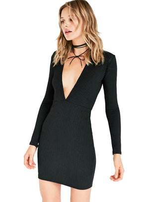 Solid Black Bodycon Dress Brief Full Sleeve V-Neck