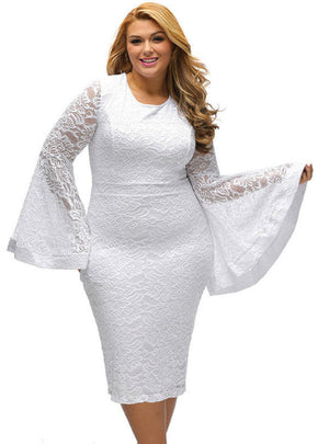 Hollow Zipper White Flare Sleeve Fashion Party Dress