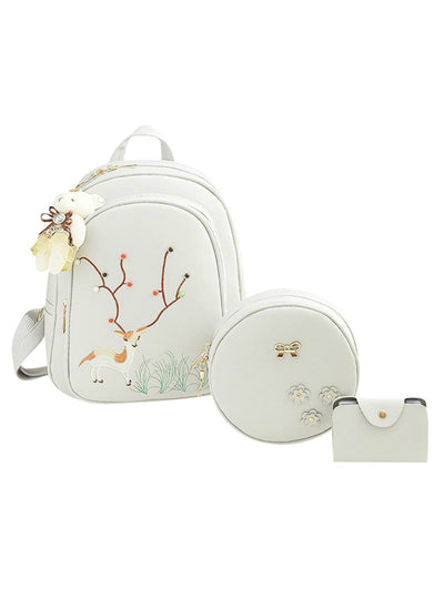 3pcs/Set Deer Embroidery Mini Backpack Women