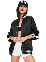 Baseball Jacket Black White Color Block Tie Back