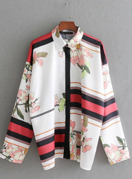 Hit Color Striped Flower Print Kimono Shirt Blouse