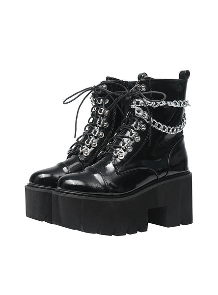 Patent Leather Gothic Black Boots Women Heel