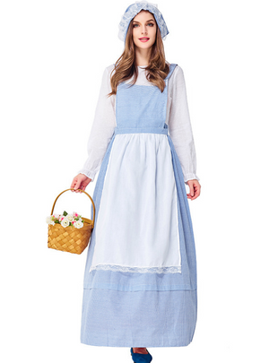 Farm Girl Sky Blue Plaid Kitchen Skirt Cosply