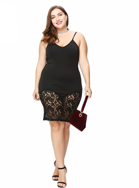 Solid Black Lace Contrast Dress Big large Size Sleeve