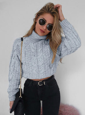 Knitted Short Sweater Women Turtleneck Streetwear
