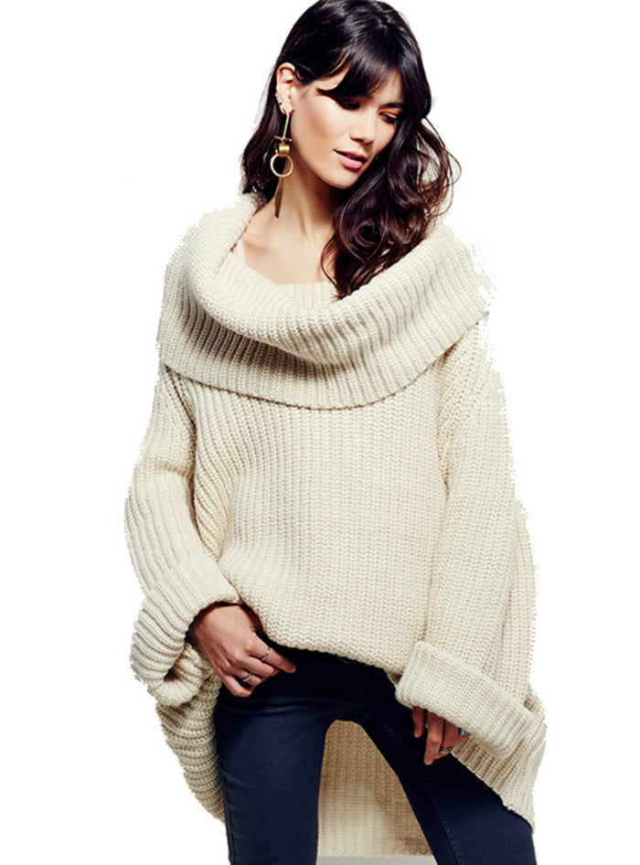 Sweaters Long Sleeve Loose Elegant Streetwear  High Cowl
