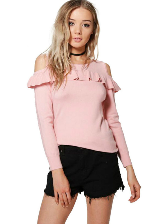 Pink Sweater Casual Solid Gray Cold Shoulder Ladies