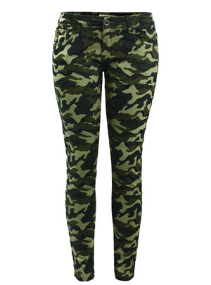 Green Skinny Jeans For Women Femme Camouflage