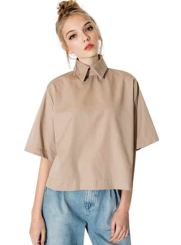 Fashion Turn Down Collar Blouse Slim Women Shirt