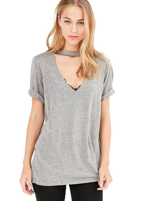 T-shirt Women Casual Hollow Out V-neck Solid