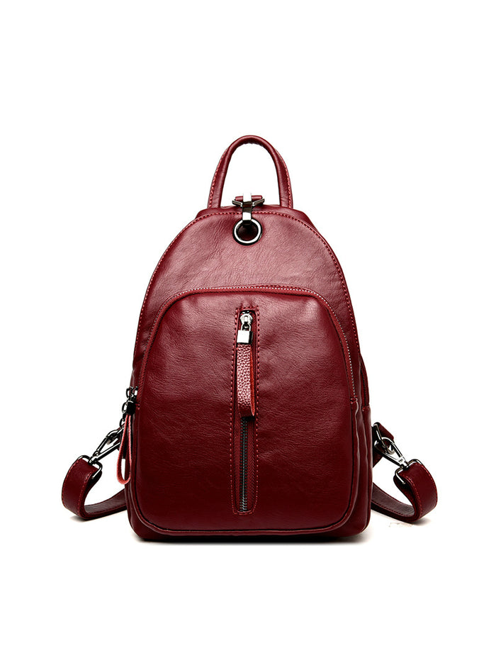 Headphone Function Women Leather Backpack Bags