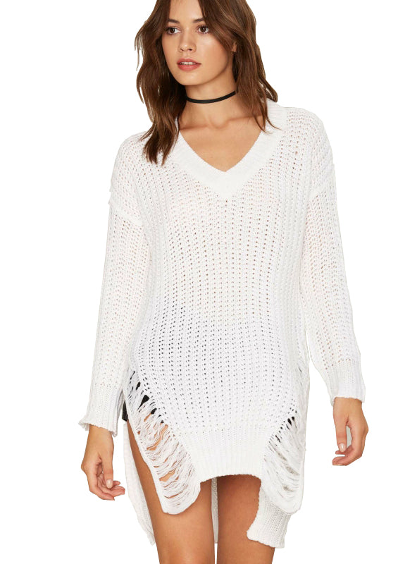 White Sweater V Neck Side Slit Women Tops