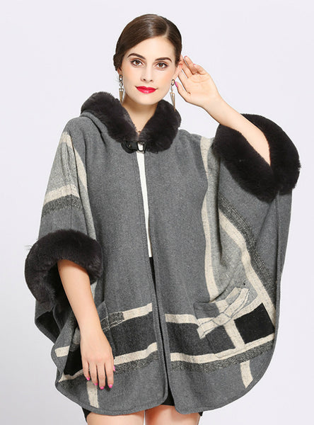 Loose Collar Pocket Knitted Cardigan Shawl Cape