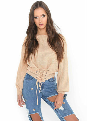 Women Long Sleeve Lace Up Sweater Top