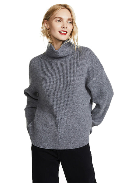 High Neck Side Pocket Cashmere Sweater Knitted