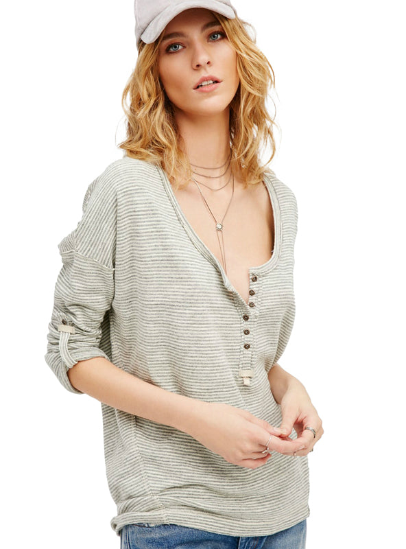 Long Sleeve Knitted Tops Brief Style V-neck Loose T-shirt
