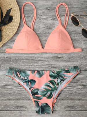 Palm Leaf Print Cami Bikini Women's Swimsuit