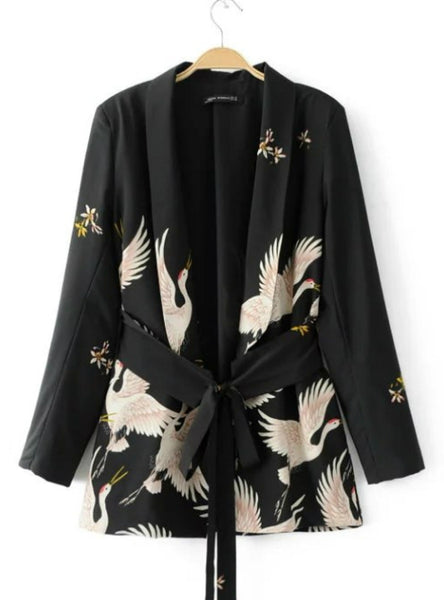 Loose Jacket Animal Crane Print Kimono Suit jacket