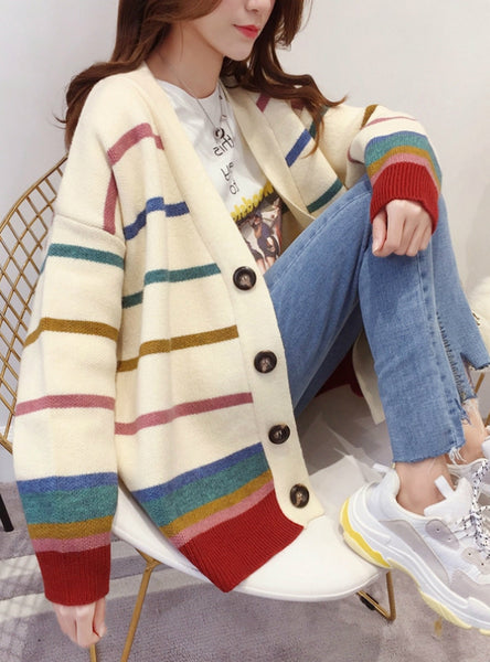 Loose Sweater Long Stripe Knit Cardigan For Women