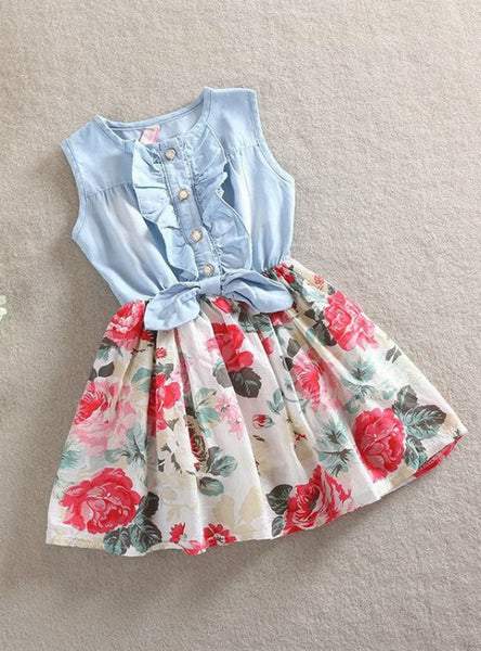 Sleeveless Denim Floral Dresses With Button Kids Princess