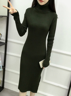 Women's Turtleneck Ribbed Long Sleeve Knit Sweater Dress
