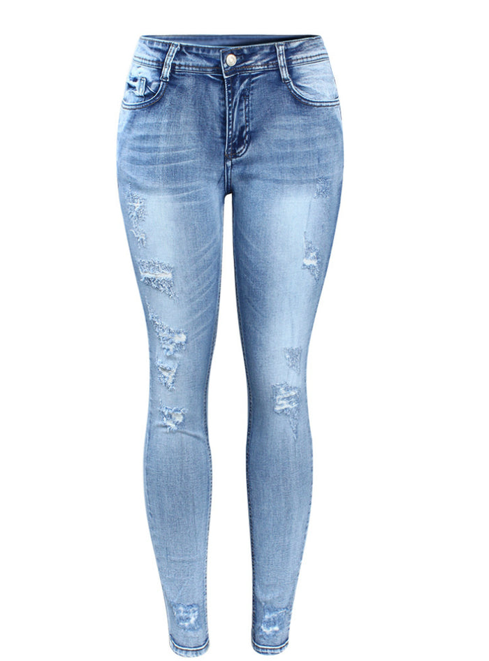 Mid Waist Stretchy Ripped Denim Pants Skinny Pencil Jeans