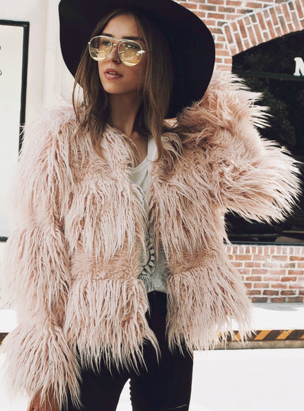 Beach Wool Faux Fur Coat Cotton Wool Coat