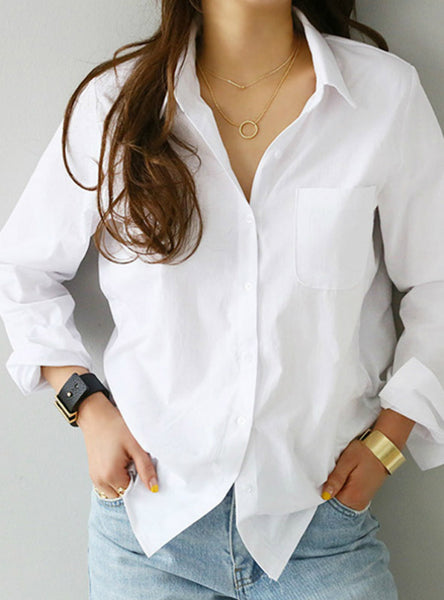 One Pocket Women White Shirt Female Blouse Tops