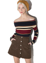 Sweater Female Sweet Multicolor Stripe Off Shoulder